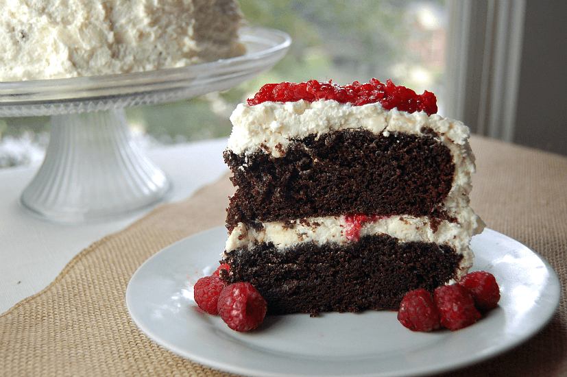 Chocolate cake with white chocolate raspberry mousse