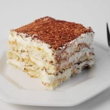 A slice of Italian Tiramisu on a plate.