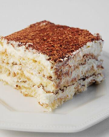 A slice of Italian Tiramisu on a plate.
