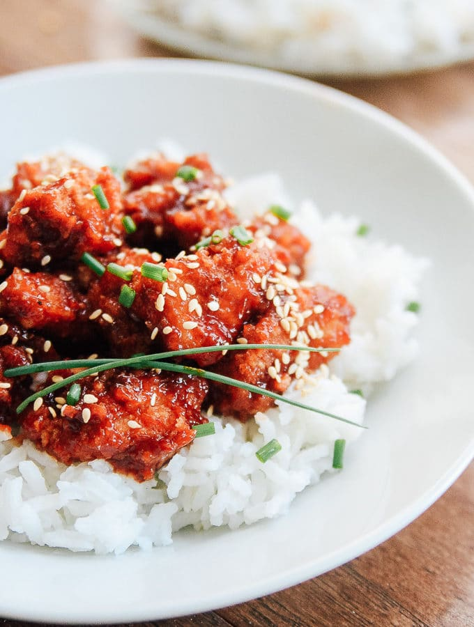 Sweet and Spicy Chicken on a bed of rice