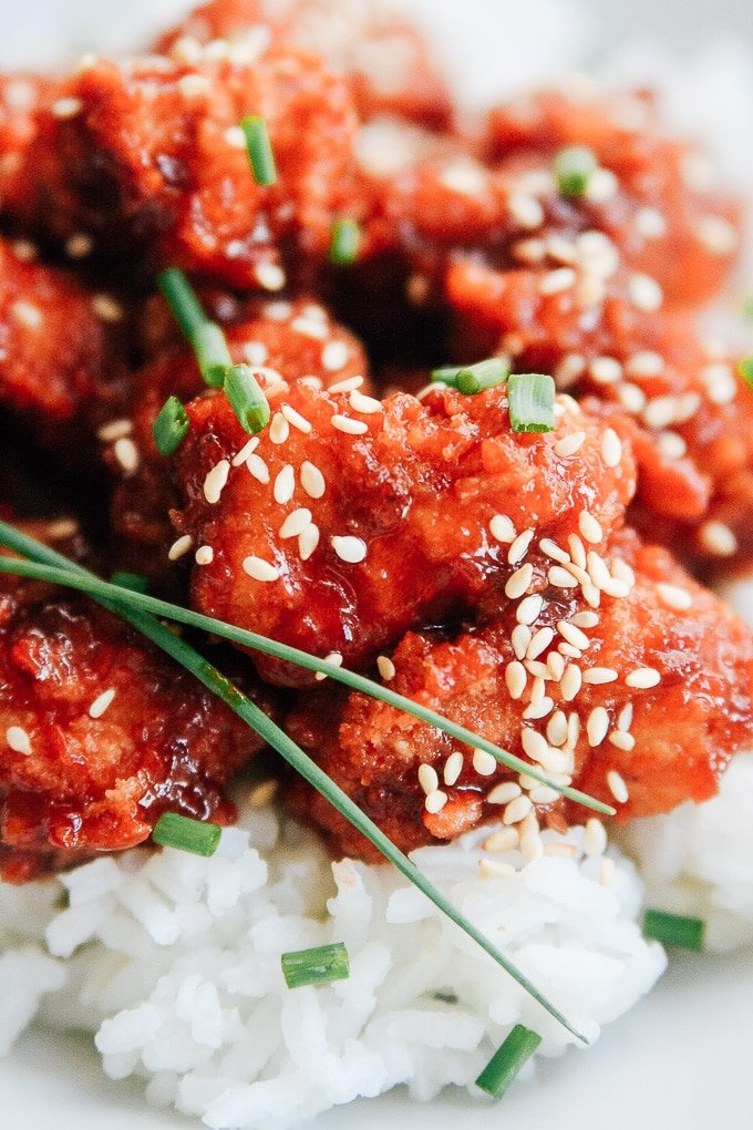 close up picture of sweet and spicy chicken