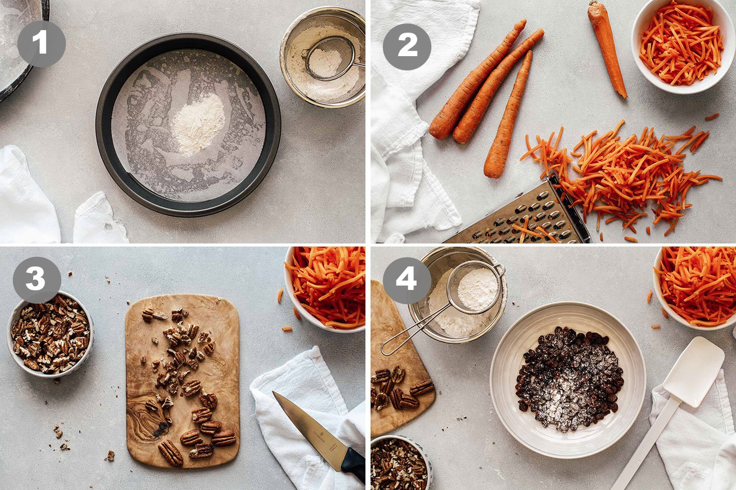 how to make Carrot Cake steps 1-4.
