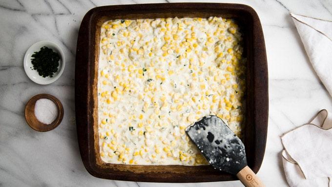 pour into an 8x8 baking dish