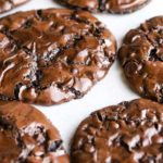 double chocolate chip cookies on parchment paper