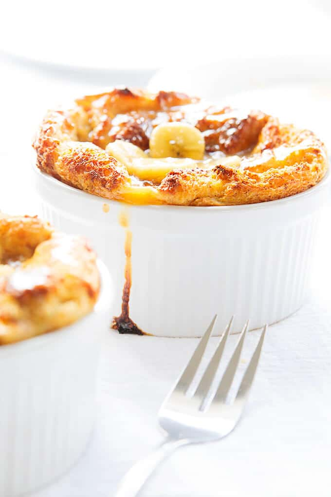 Louisiana Bread Pudding next to fork