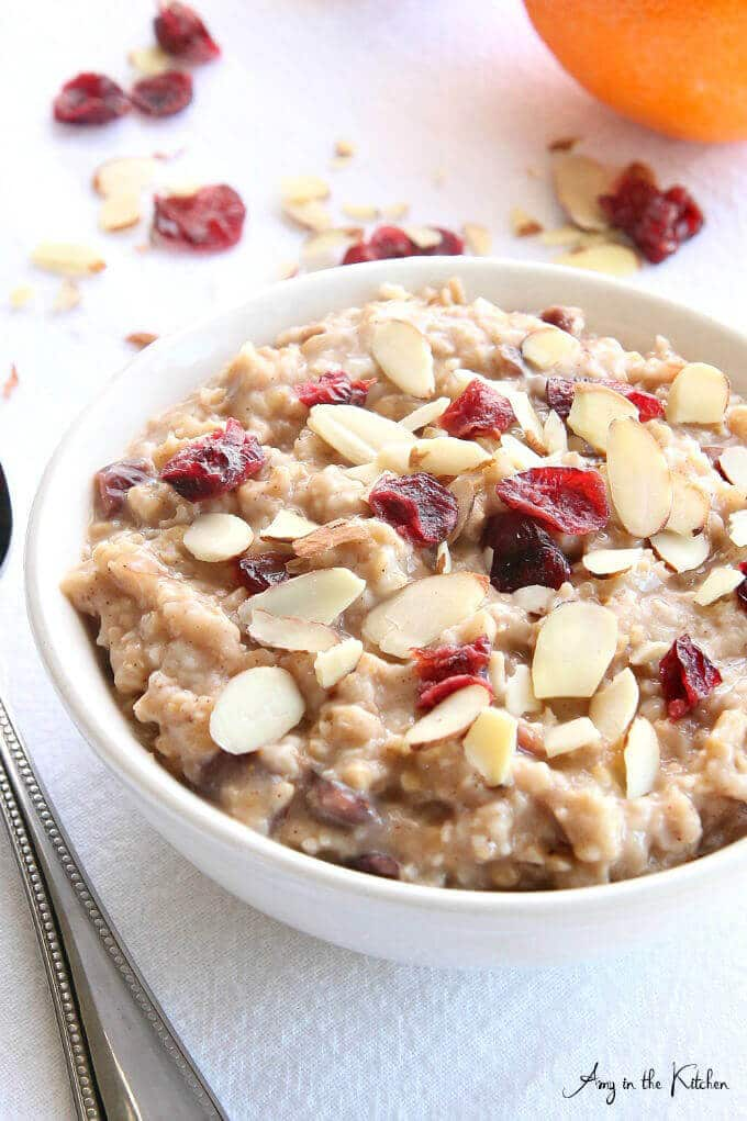 A bowl of slow cooker cranberry oatmeal.
