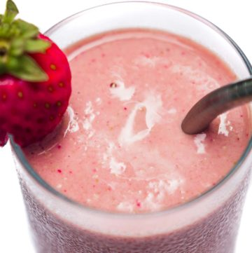p b and j smoothie in a glass.