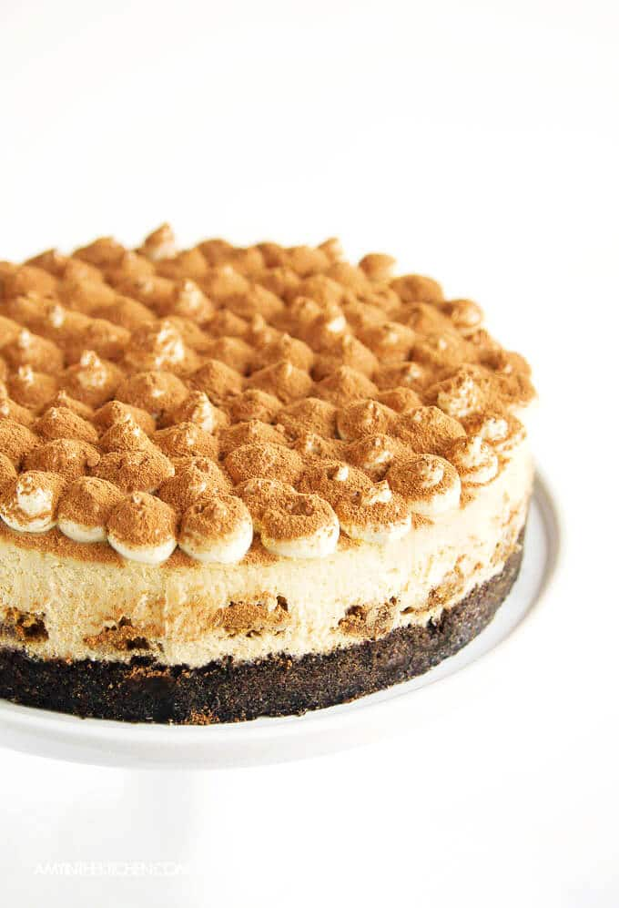 Tiramisu Cheesecake with whipped topping.