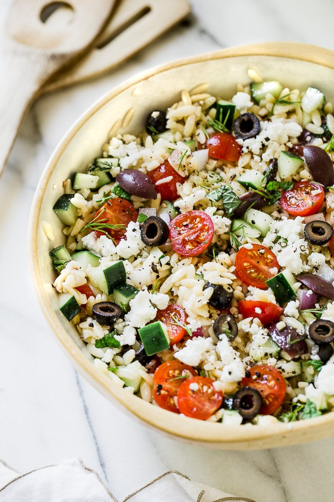 Close up picture of greek orzo salad