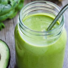 green smoothie in a mason jar