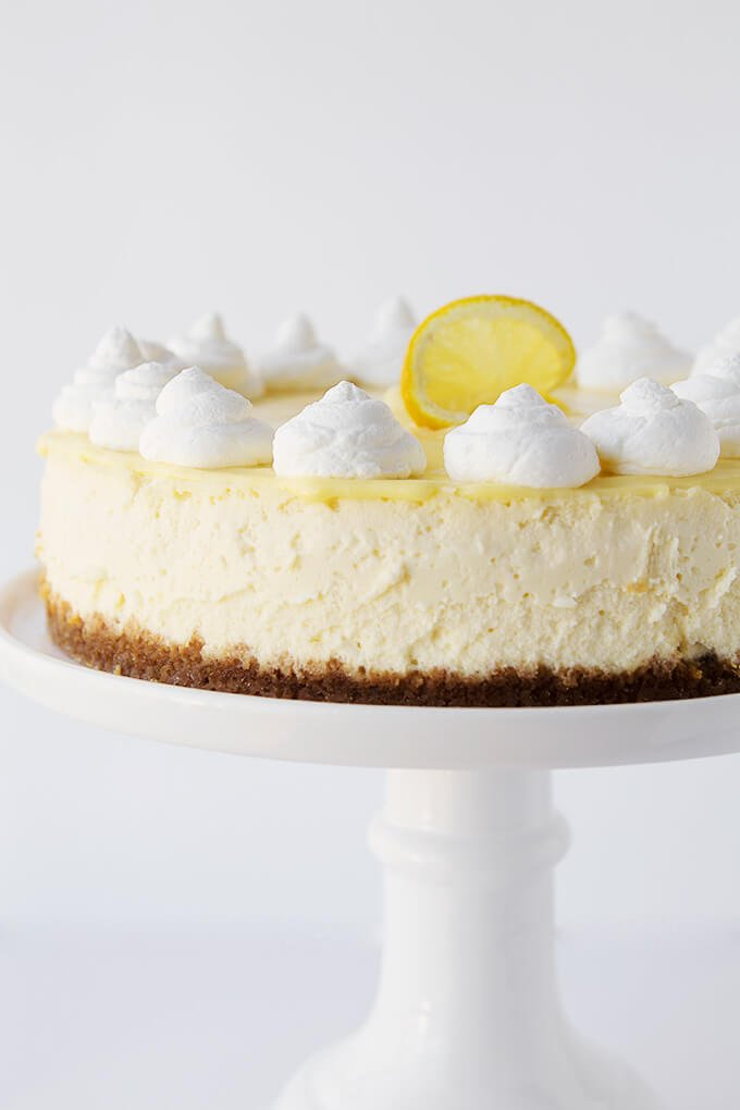 Lemon Cheesecake with Lemon Curd. The lightest, creamiest lemon cheesecake you'll ever try!