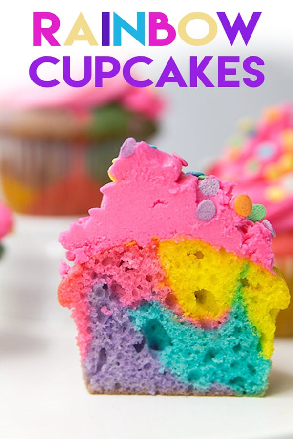Rainbow Cupcakes are so impressive and EASY to make! Perfect for a rainbow or unicorn party! #marbledcupcakes #marbledcake #unicornparty #rainbowparty #recipe #rainbowcupcakes