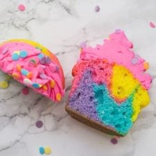 rainbow cupcake cut in half