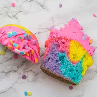 rainbow cupcake cut in half