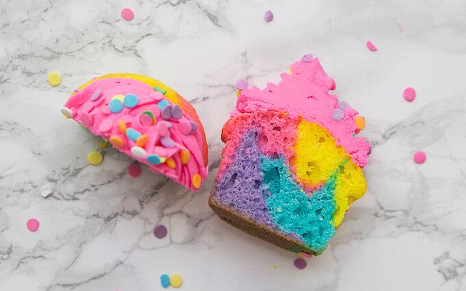rainbow cupcakes cut in half