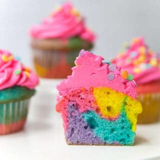 Rainbow Marbled Cupcakes