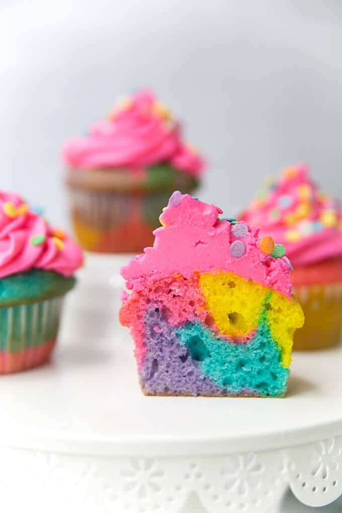 easy rainbow cupcakes marbled amy in the kitchen