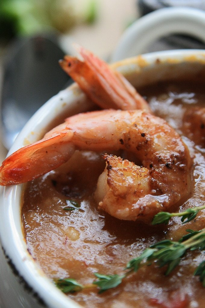 shrimp in a bowl of chowder