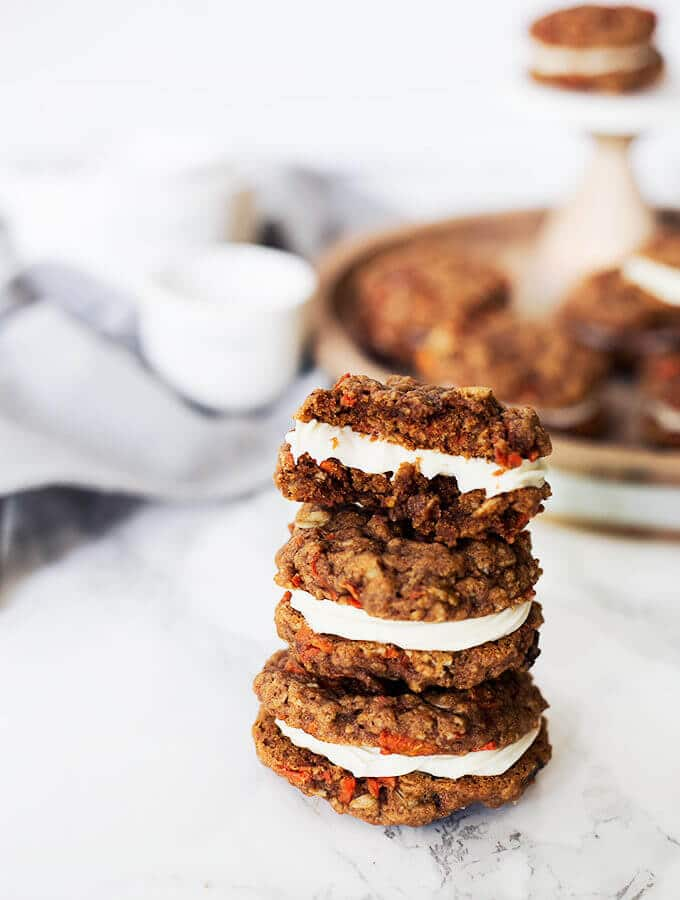 Carrot Cake Cookies. Made easy with cake box mix. They make perfect whoopie pies!