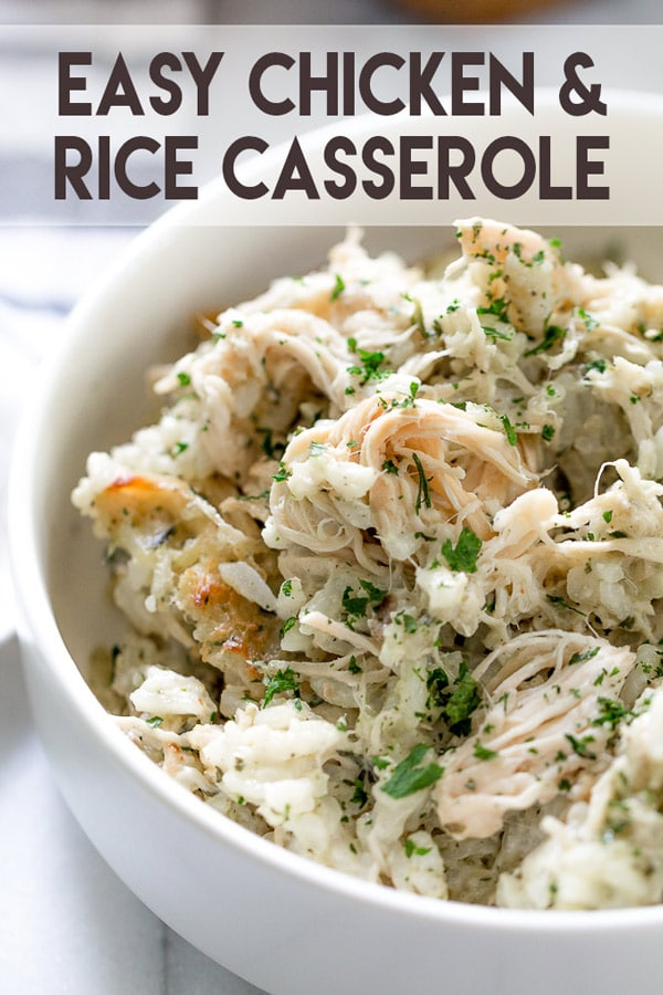 Easy Chicken Rice Casserole is perfect for a quick, delicious weeknight meal! #chickencasserole #recipe #chicken #quickdinner #chickendinner #casserole