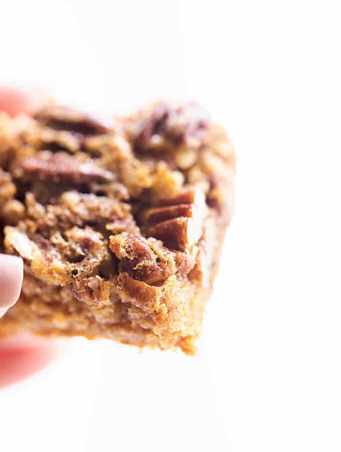 Pecan Pie in a bite size bar! A delicious, easy to make pecan pie bar using a cake mix!