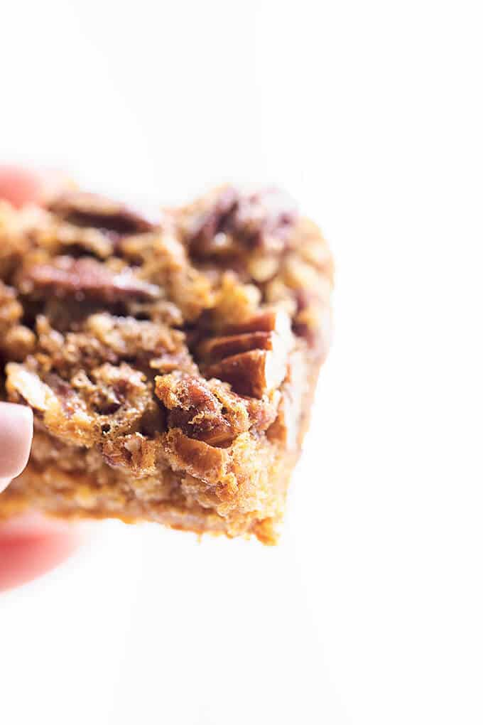 Pecan Pie in a bite size bar! A delicious, easy to make pecan pie bars using a cake mix!
