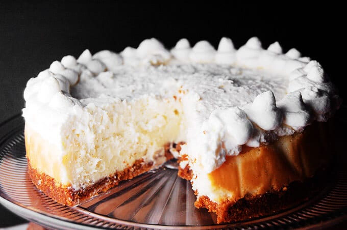 A creamy cheesecake baked in a water bath.