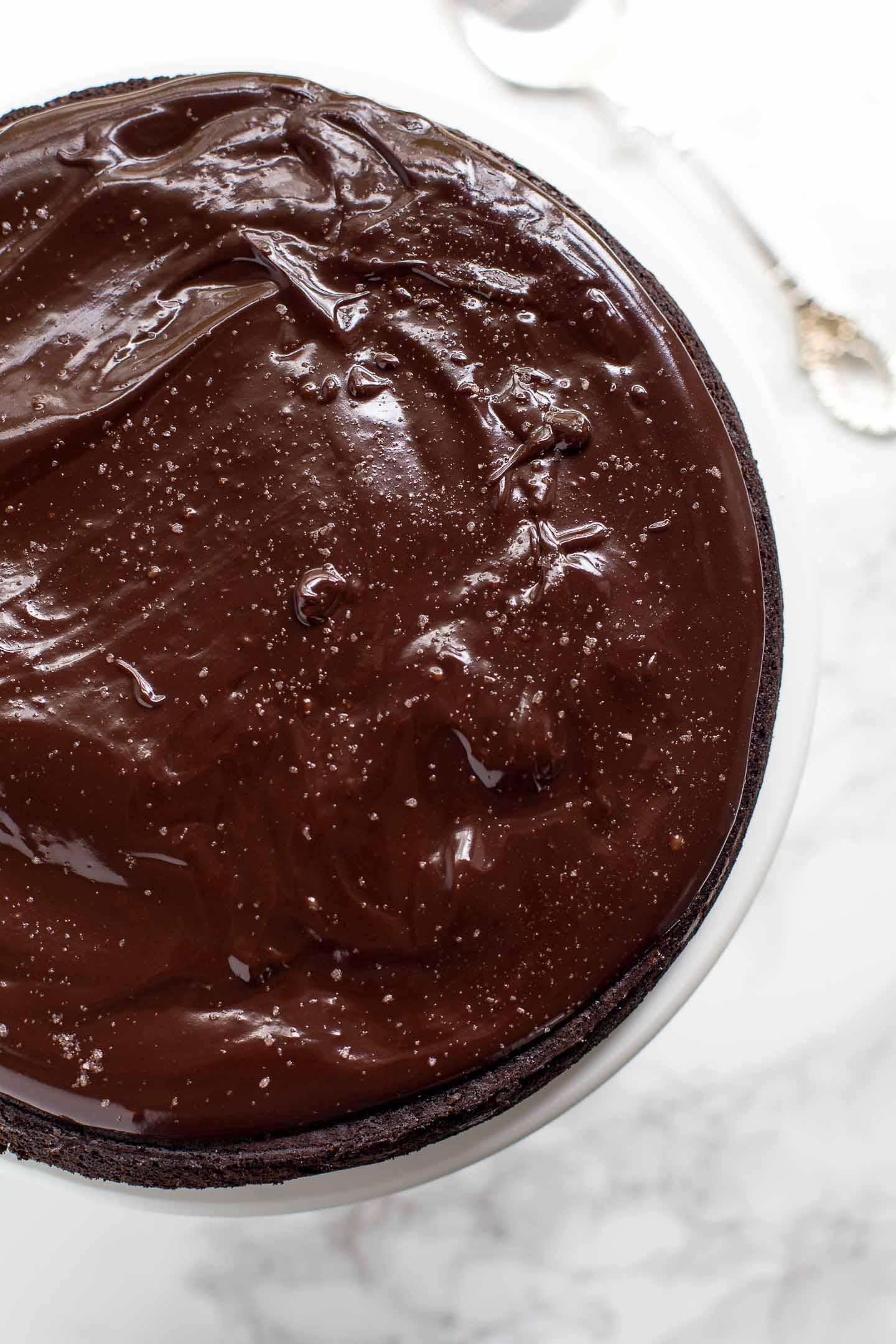 flourless chocolate cake overview photo.