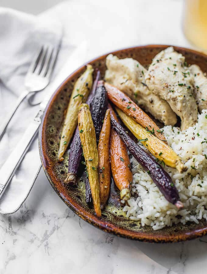 Roasted Multi Colored Carrots are the perfect side dish for dinner. They only take 20 minutes in the oven.