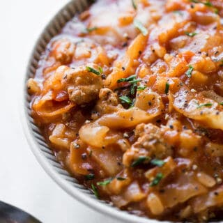Instant Pot Cabbage Roll Soup. All the awesome flavors of stuffed cabbage without all the work! So delicious!