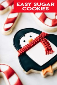 sugar cookie decorated like a penguin.