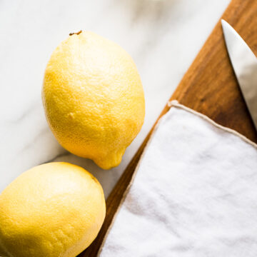 lemons and salt on a table.