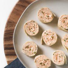 Buffalo Chicken Dip Pinwheels on a serving platter.