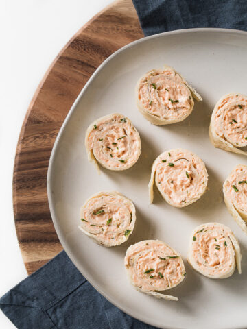 Buffalo Chicken Dip Pinwheels on a serving platter.