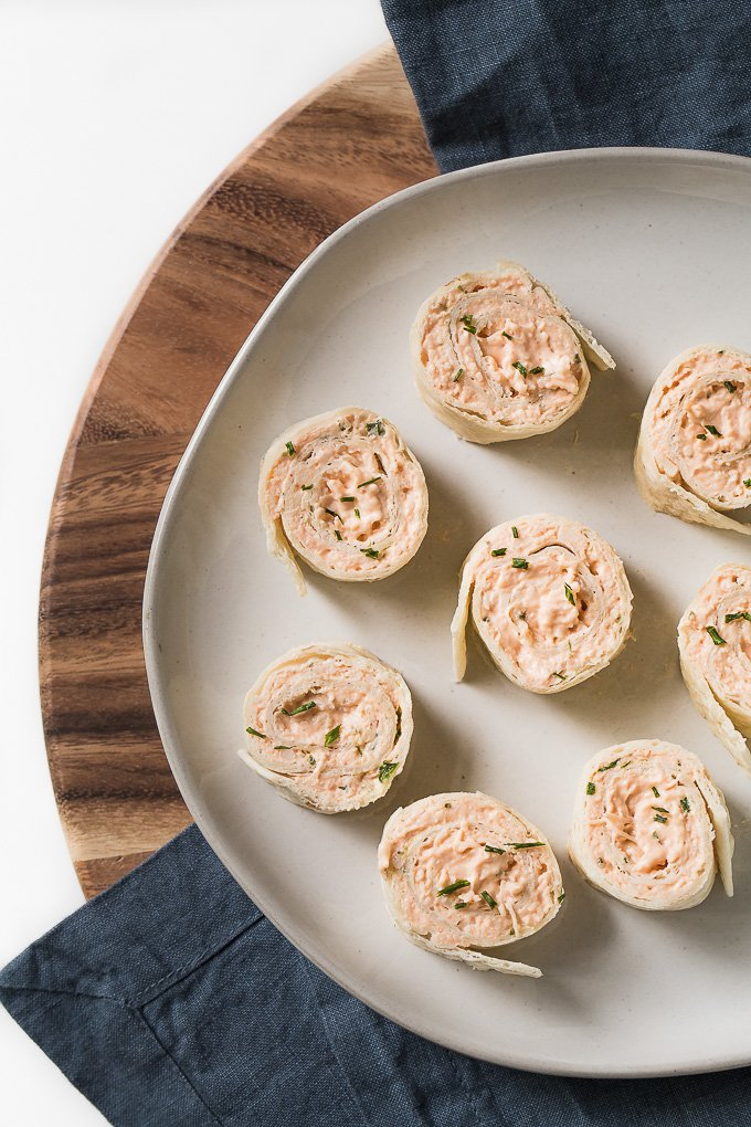 Buffalo Chicken Pinwheels on a serving platter.