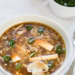 hot and sour soup in a bowl