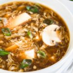 closeup of hot and sour soup