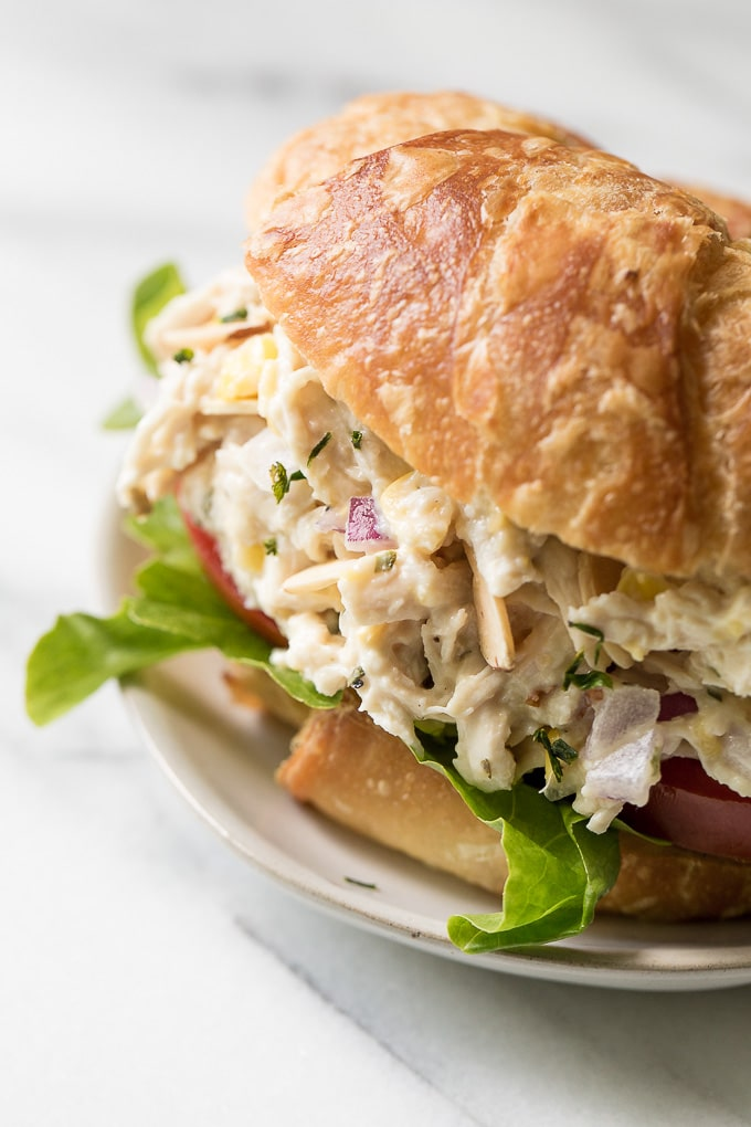 Chicken salad on a croissant bun.