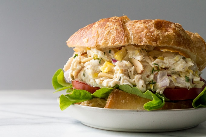Rotisserie Chicken Salad sandwich on a plate.