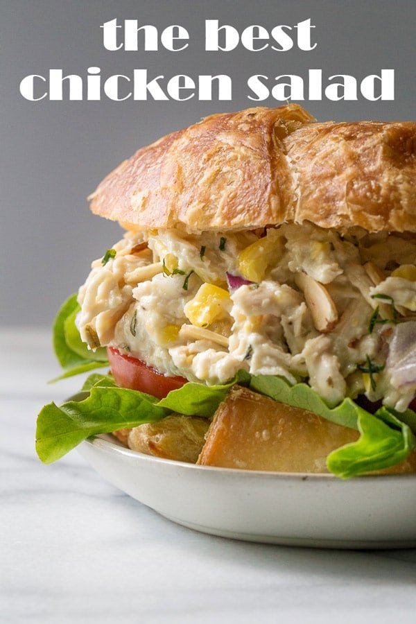 chicken salad sandwich on a plate