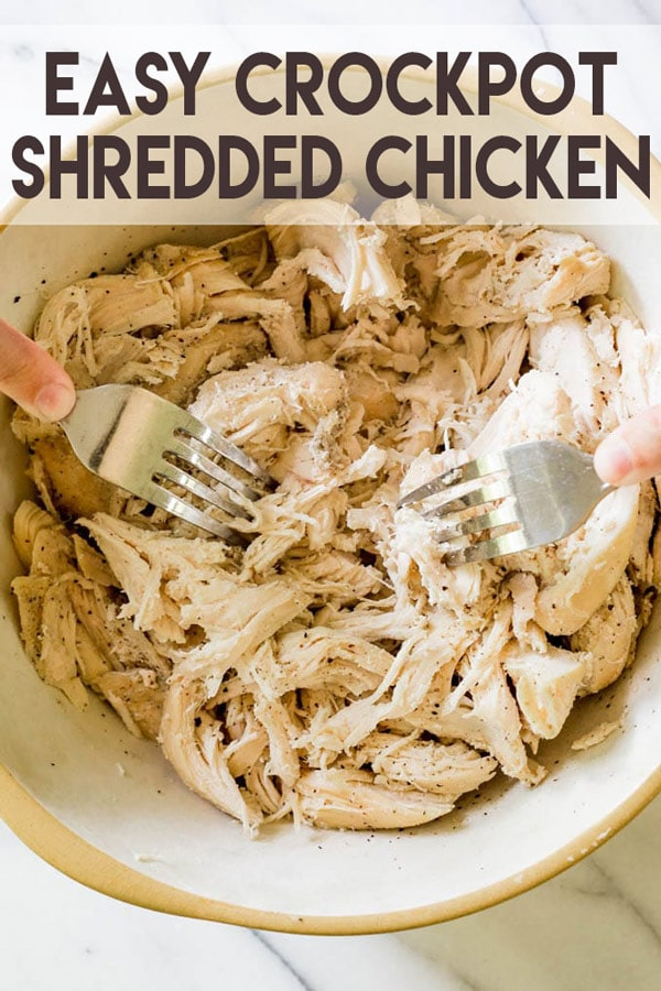 An easy slow cooker recipe for making small or large batches of shredded chicken! . Use it right away or freeze to make weeknight meals quick and easy! #shreddedchicken #slowcooker #crockpot #crockpotshreddedchicken #recipe #easyrecipe