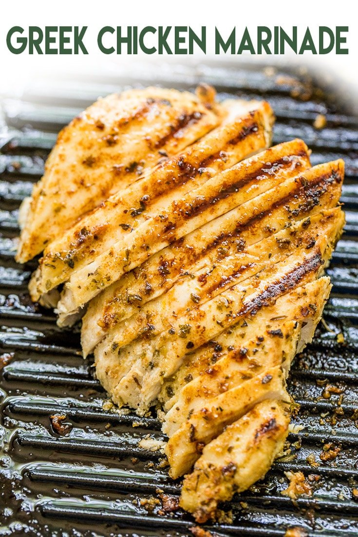Greek Chicken Marinade turns your chicken breasts into the most tender and juicy chicken you'll ever taste! #greekchicken #chickenmarinade #chickenrecipe #recipe