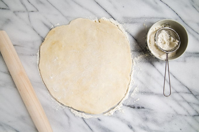 roll dough into 14 inch round