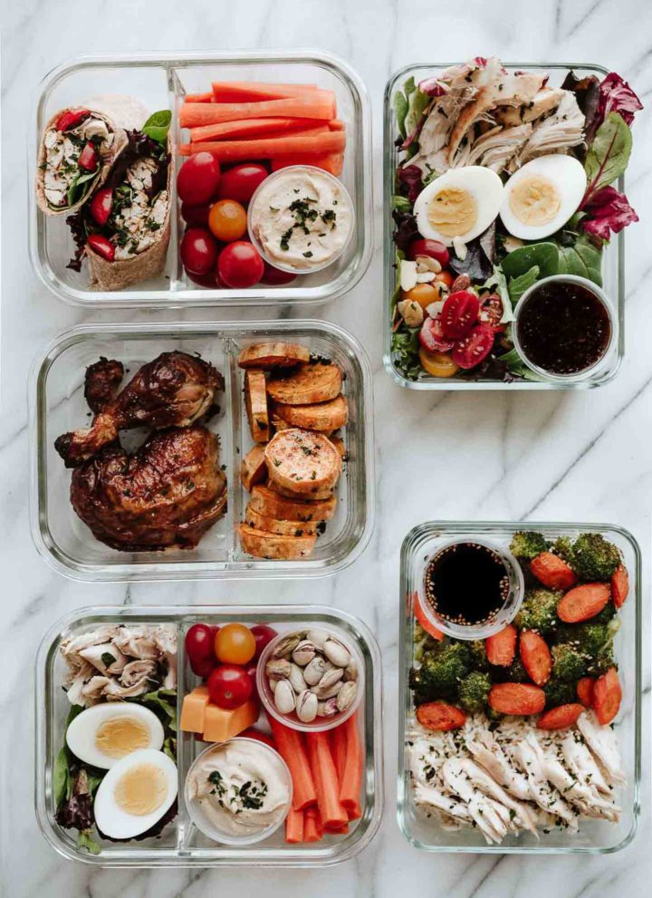 5 Easy Meals to Prep with 1 Rotisserie Chicken. Healthy lunches that help you clean out your fridge and save time! #mealprep #healthymealprep #mealplanning #rotisseriechicken