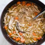 chicken noodle soup in dutch oven
