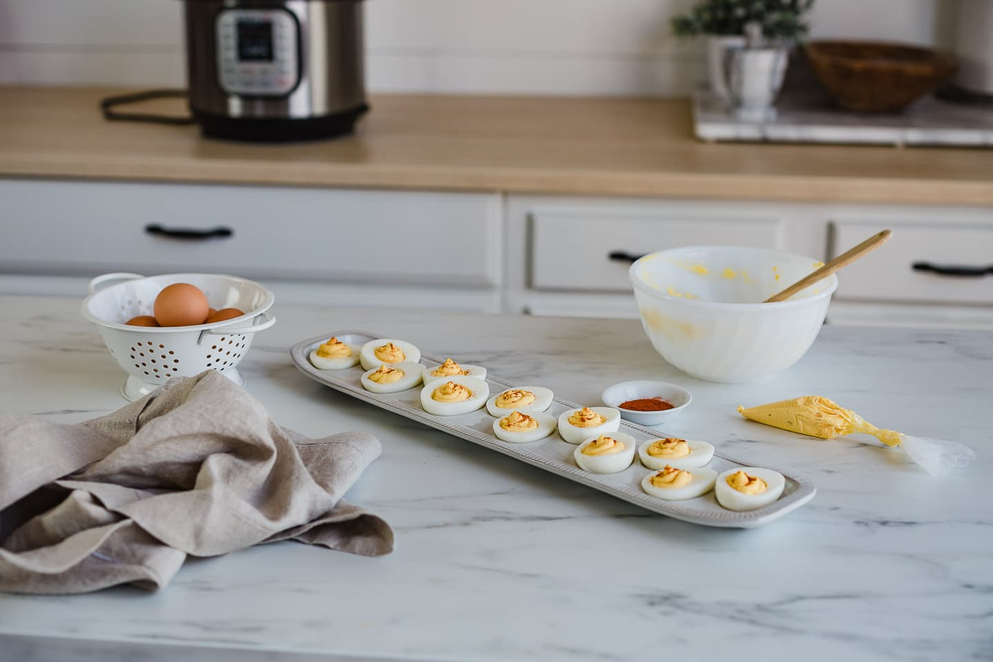 deviled eggs on counter