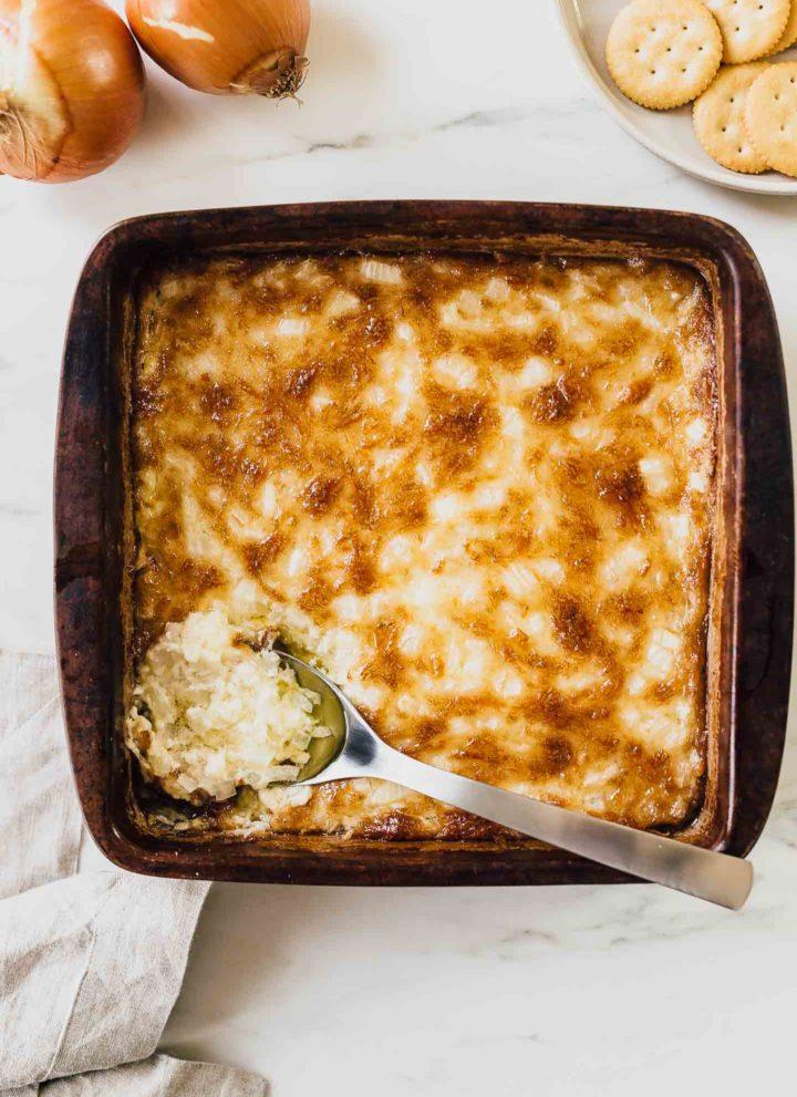 hot onion dip in baking dish