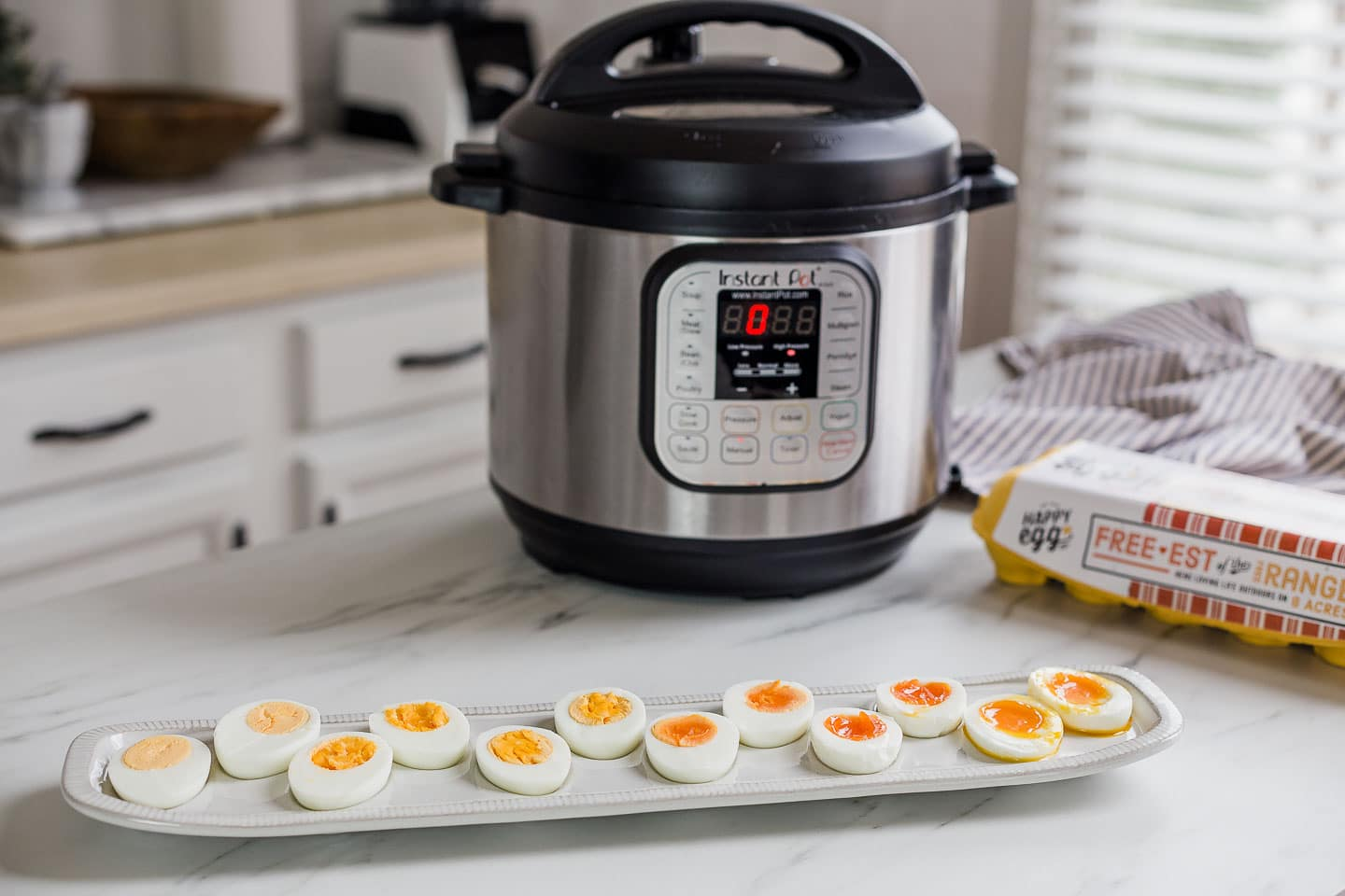 Instant Pot with tray of boiled eggs