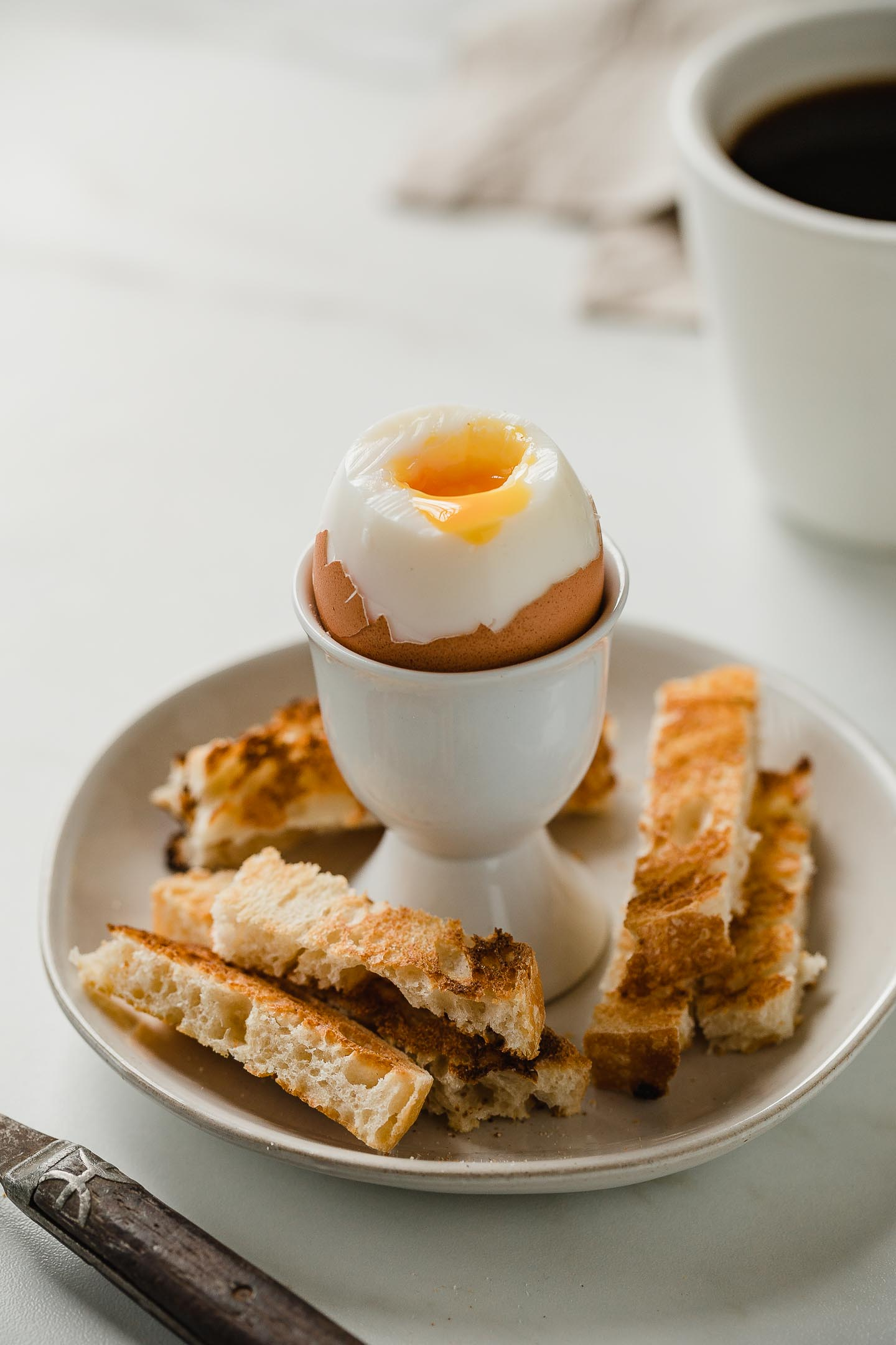 Instant Pot Soft Boiled Eggs in egg cup