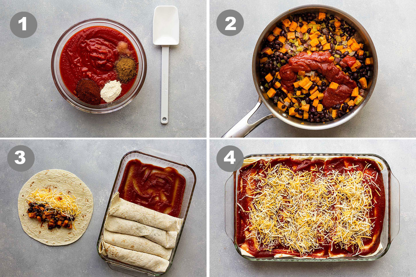 step-by-step photos of how to make sweet potato enchiladas.